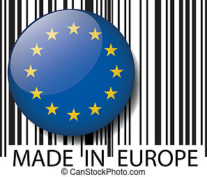 europa, barcode., robiony, wektor, ilustracja