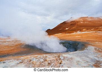 europa, bereich, namafjall, island, geothermisch, ausbrüche,...