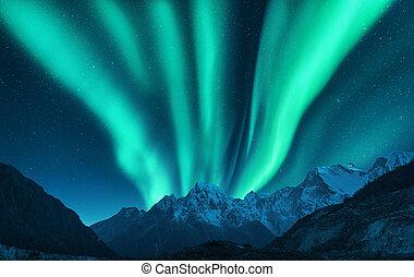 europa, berg, borealis, dageraad, sneeuw, verbreidingsgebied, boven, bedekt