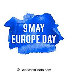 europa, blaues, illustration., plakat, karte, mai, text, feiertag, gemalt, geschrieben, vektor, hintergrund, 9, feier, wörter, tag, logo