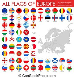 europa, bottoni, bandiera, rotondo, paesi