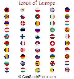 europa, branca, contra, ícones