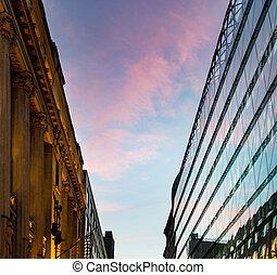 europa, budapest, pôr do sol, reflexão, edifício.
