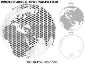 europa, centraal, dotted, globe, aarde, aanzicht