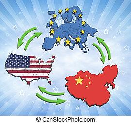 europa, china, interatction., estados unidos de américa