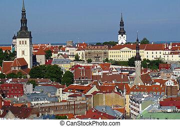 europa, cidade, estónia, topo, telhado, visto, paisagem
