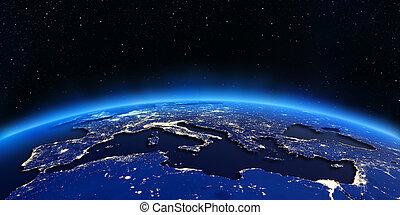 europa, ciudad, norte, mapa, áfrica, luces