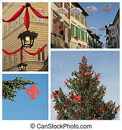 europa, collage, florentino, italia, florencia, navidad