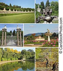 europa, collage, italia, boboli, imágenes, florencia, jardines