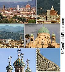 europa, collage, italia, señales, florencia, religioso