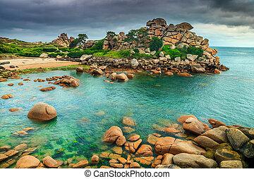 europa, coloridos, mágico, oceânicos, frança, atlântico, litoral, ploumanach, pedras