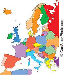 europa, con, editable, países