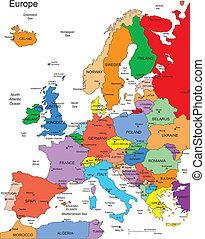europa, con, editable, países, nombres