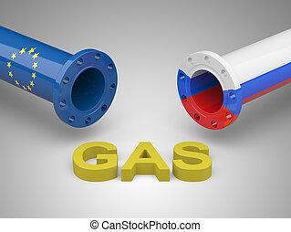 Europa,  -, conceito,  gás,  rússia, crise