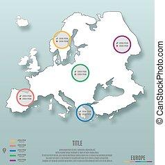 europa, continente, sagoma, infographics