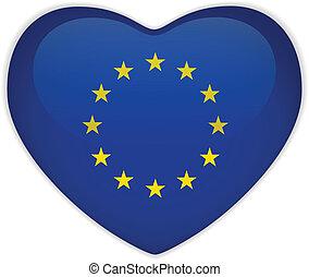 europa, coração, bandeira, lustroso, botão