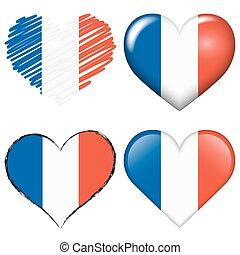 europa, corazones, futbol, colección, francia