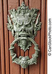 Europa, dörr, Italien, stilig, brons, portklapp