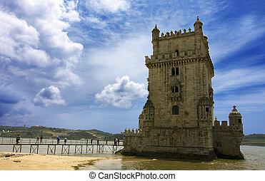 europa, de, portugal, belem, lisboa, torre