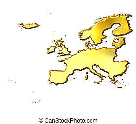 europa, dorado, 3d, mapa