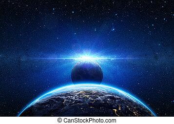 europa, -, eclipse, terra planeta, amanhecer, vista