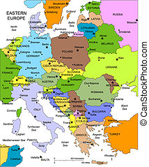 europa, editable, länder, namen, östlich