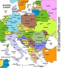 europa, editable, länder, namnger, östlig