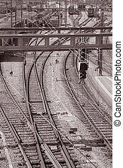 europa, entrada, tono, sepia, negro, estación, suiza, ferrocarril, berna, blanco