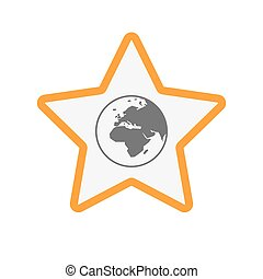 Europa, estrella, globo,  áfrica, aislado, regiones,  Asia, mundo