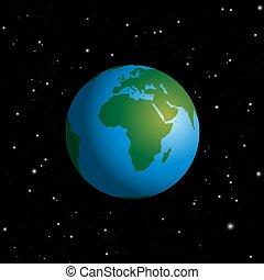 Europa, estrellado, globo,  áfrica, cielo