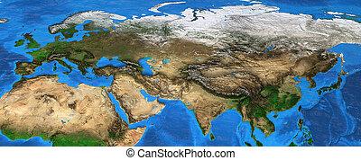 europa, eurasia, mapa, -, ásia, alto, resolução