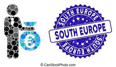 europa, euro, ícone, mosaico, banqueiro, angústia, sul, selo