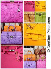 europa, färgrik, handväskor, läder, italien, kollektion
