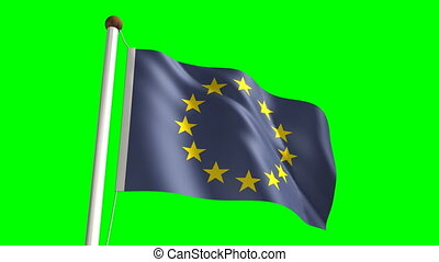 europa, fahne, (loop, &, grün, screen)