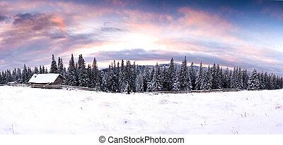 europa, fantástico, noite, nevado, house., cena, carpathians, ucrânia, dramático, pôr do sol, wintery, paisagem