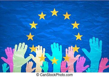 europa, flag., immagine, fare, gettare, choice., fondo, mani, voto, europeo, tuo, vote.