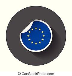 europa, flag., sticker, lang, vector, illustratie, shadow.