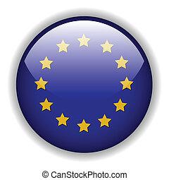 europa, flagga, knapp, vektor