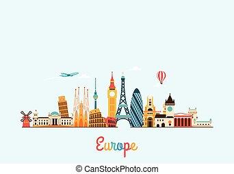 europa, fondo., viaje turismo, skyline.