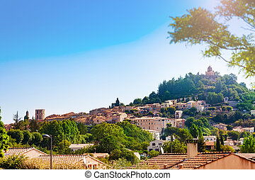 europa, forcalquier, stadt, panorama, frankreich, provence