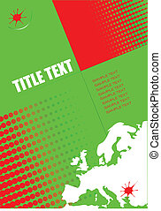 europa, format, osłona, silhouette., a4, szablon, broszura, ...