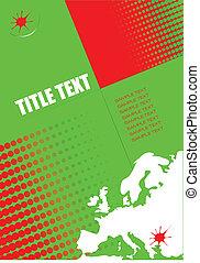 europa, formato, cobertura, silhouette., a4, modelo,...