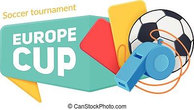 europa, fußball, badge., becher
