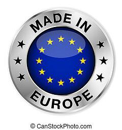 europa, gemaakt, badge, zilver