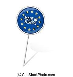europa, gjord, -, runda, stift