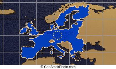 europa globe, zom uit in