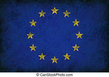 europa, grunge, flagga