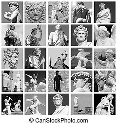 europa, hecho, arte, esculturas, collage, italia, florencia