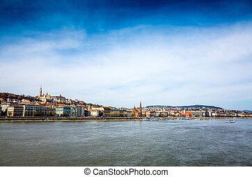 europa, histórico, arquitetônico, budapest, hungria, vista