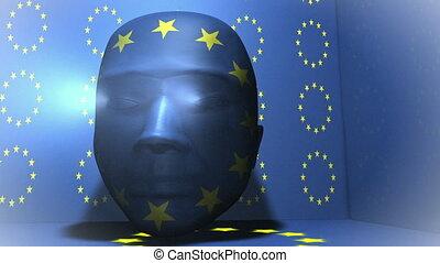europa, hoofd, animatie, -